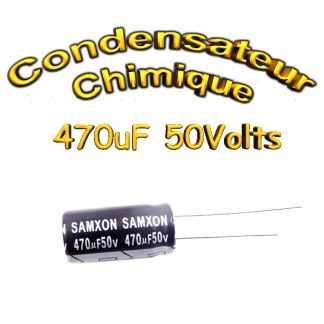 Condensateur électrolytique polarisé 470uF 50V- 10x20mm - 20%
