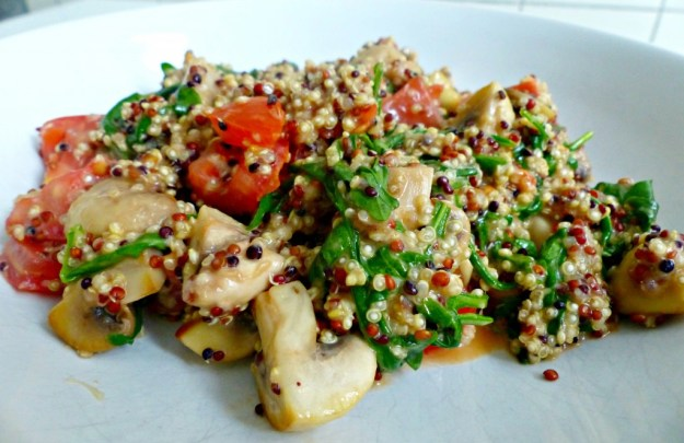 Quinoa champignons rucola kaas