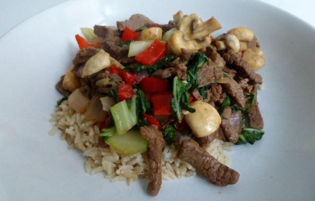 Rijst rundvlees groenten