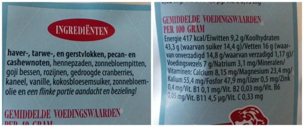 Voedingswaarde granola