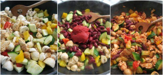mengsel groenten kip kidneybonen tomatenpuree