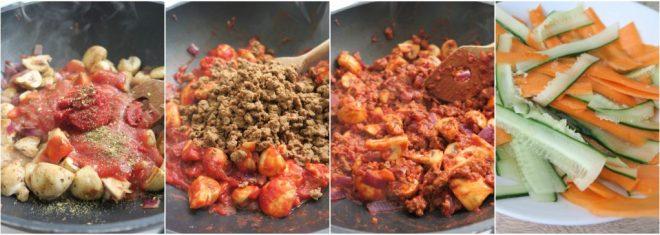 collage 2 vegetarische spaghetti bolognese