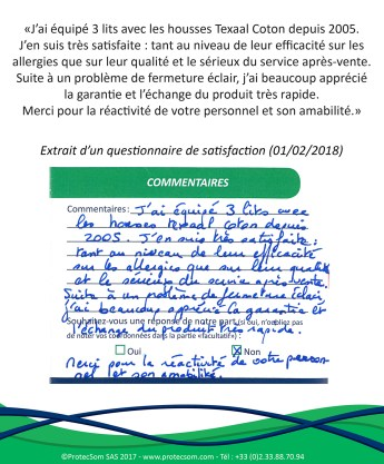 2018-02-01 - Commentaire Housse anti-acariens ProtecSom - Guest Book