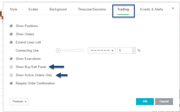 Tradingview Order Settings