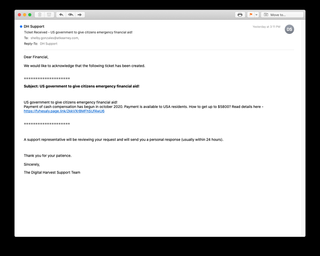 Email Example Phishing