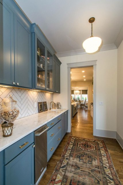 Kabinart Cabinets. Arts and Crafts door style, painted Atlantic.