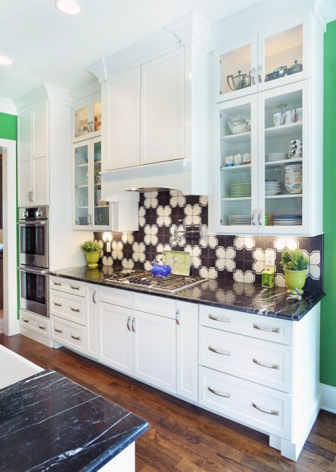 Kabinart Cabinets. Arts and Crafts door style w/ custom painted finish SW7009 Pearly White.