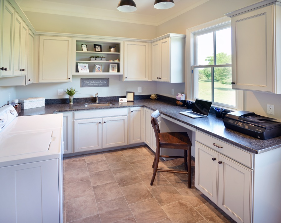 Kabinart Cabinets. Hampton door style, painted Limestone w/ Coffee glaze.