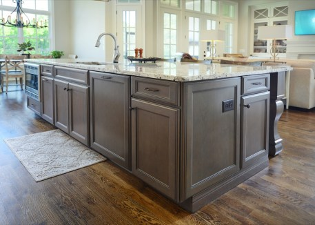 Kabinart Cabinets. Hampton door style, cherry wood, Boulder finish.