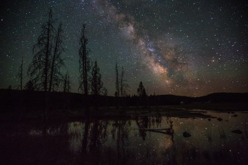 The night sky over Yellowstone National Park