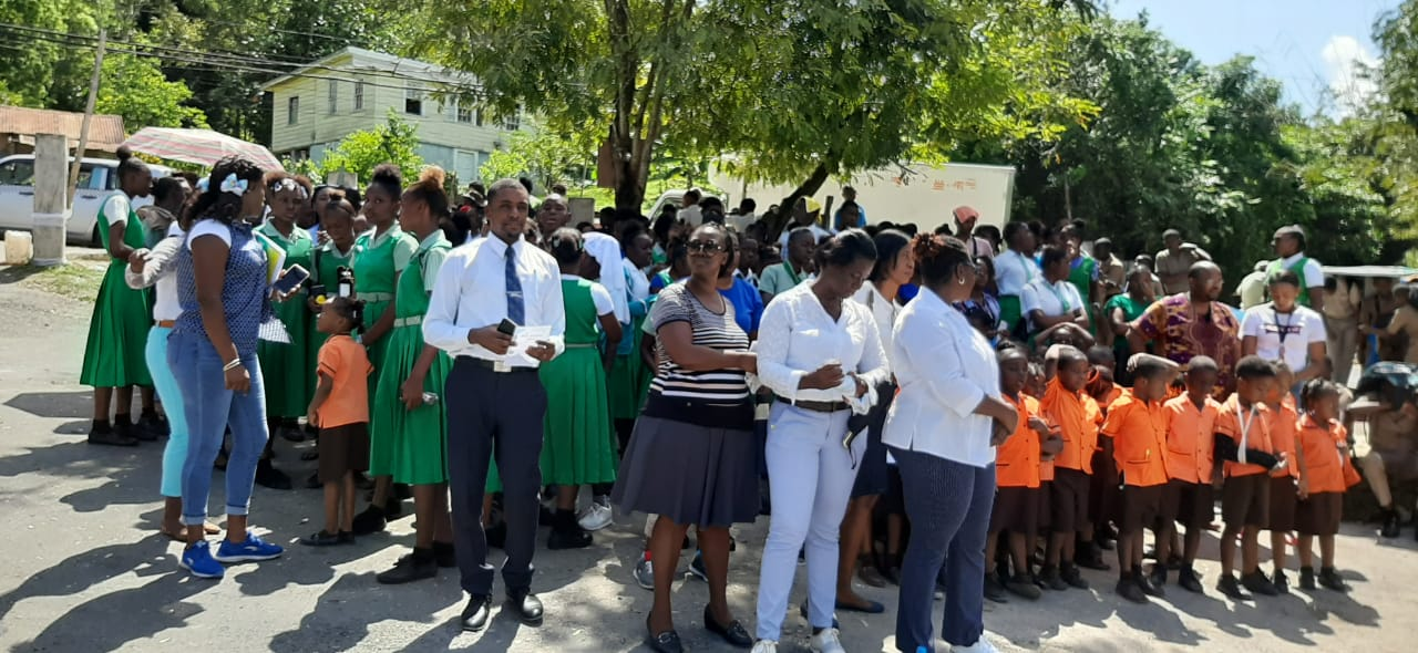 Oracabessa High School teachers and students gathered together for the Peace Day march.
