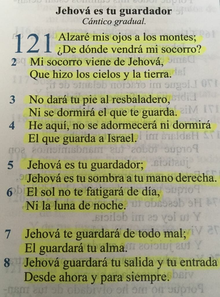 Salmo 121 completo na Bíblia Sagrada em espanhol