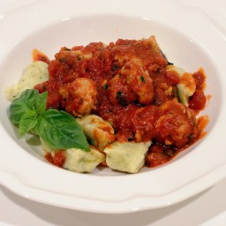 "Basil Ricotta ""Cavatelli"" With Tomato Sausage Sauce"