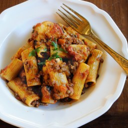 Rigatoni With Lentil Ragu