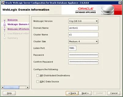 WebLogic Server Configuration for Oracle Database Appliance - WebLogic Domain Information