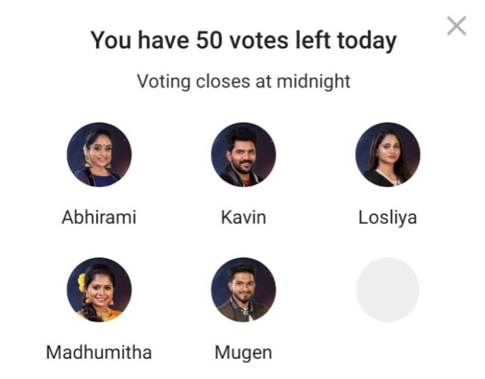 Bigg Boss Tamil Nomination Day 50