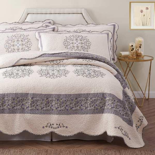 غطاء سرير قطن 100% مزدوج 3 قطع