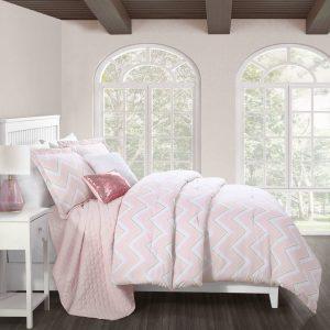 rubie-chevr-on-pink-طقم-لحاف-مفرد