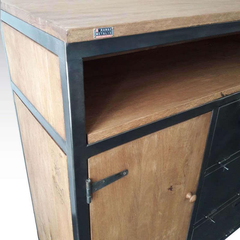 meuble 3 clapets acier et bois