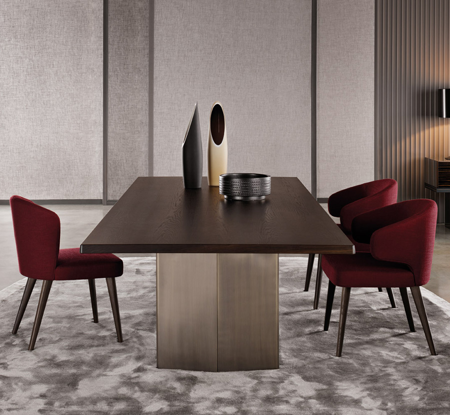 Minotti Aston Dining Chair Orange Skin