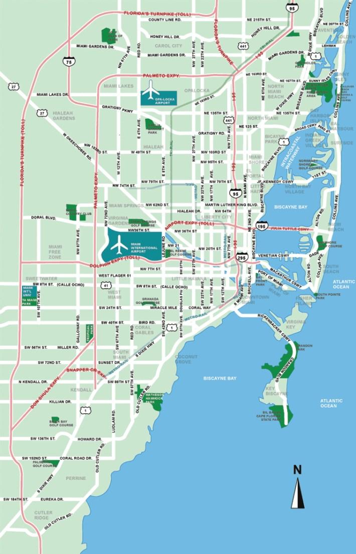 stadtplan von miami | detaillierte gedruckte karten von