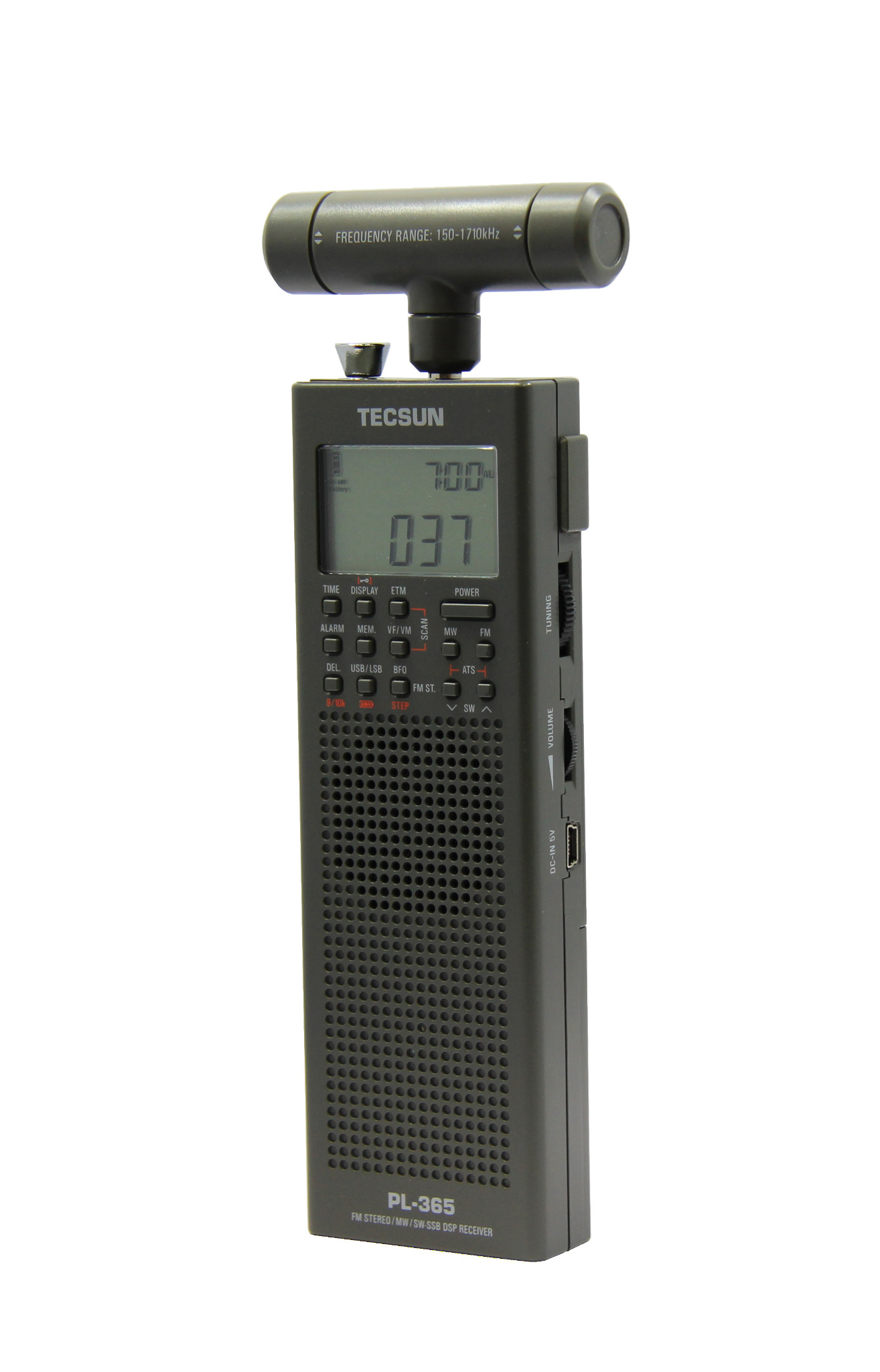 Review Tecsun Pl365 Hand Held Portable Radio Receiver Oxley Whip Antenna Operating At Medium Wave Frequency Frontside
