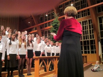At the December 9 ORS show, at least one young audience member was entranced by the Oregon Episcopal School choir, conducted by Jeri Haskins.