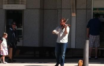 Greg Ewer busked in downtown Portland.