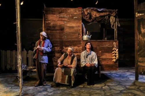 "Robert Wyllie, Paige Jones & Matthew Kerrigan in ""Mother Courage.""/Theatre Vertigo"