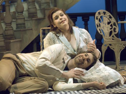 "Anna Viemeister as Magda and Zachary Borichevsky as Ruggero in ""La Rondine."" Photo: Joe Cantrell"