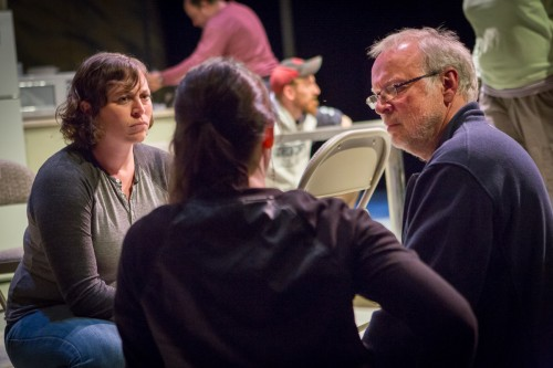 Actor Kerry Ryan (left) and director John Vreeke go over a scene at tech. Photo: Owen Carey