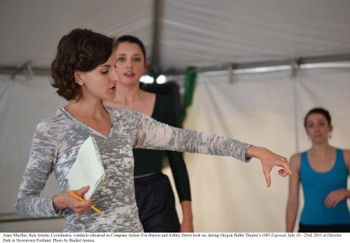 Anne Mueller, then Artistic Coordinator, conducts rehearsal as Company Artists Eva Burton and Ashley Dawn look on, during Oregon Ballet Theatre's OBT Exposed, July 18 - 23rd, 2011 at Director Park in Downtown Portland. Photo by Rachel Austen.