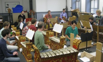 Gamelan orchestra in rehearsal.