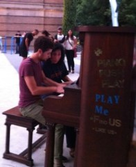 "Pianists Mitchell Falconer and Maria Choban will play Bill Alves's ""The Black Toccata"" at Timeshare Gallery Tuesday, as they did earlier this month at the Portland Art Museum Plaza on a piano provided by PushPianoPlay!"