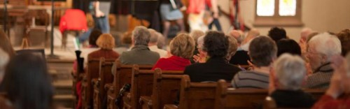 The Tuesday morning crowd at The Old Church: coffee, cookies, comedy