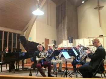 Pianist Monica Ohuchi joined members of the Oregon Brass Quintet at Cascadia Composers fall concert.