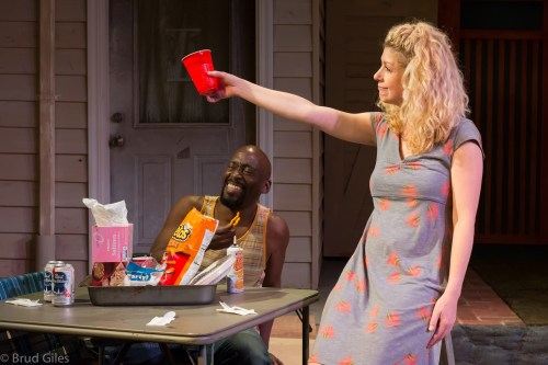 "Brooke Totman toasts the Decline of the West  in ""Detroit"" at Portland Playhouse."