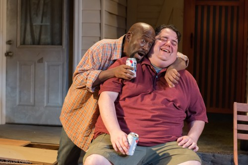 "Victor Mack and Jason Rouse make plans in ""Detroit.""/Courtesy Portland Playhouse"