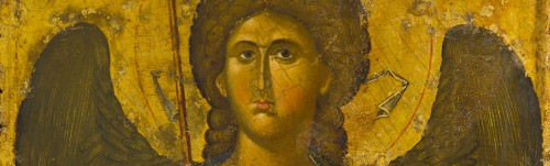 Icon of the archangel Michael (detail), first half 14th century, tempera and gold. Athens, Byzantine and Christian Museum