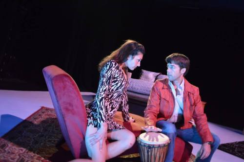 "Anne Sorce and Jeffrey Jay Gilson play the bongo and each other in ""The Lover""/Imago Theatre"