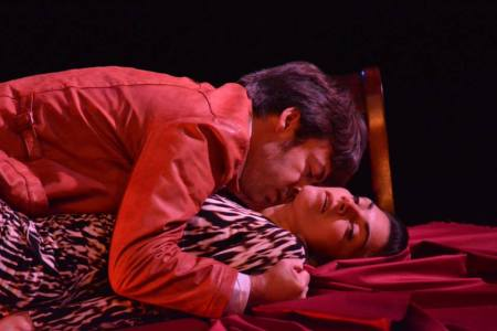"""Anne Sorce and Jeffrey Jason Gilpin in Harold Pinter's """"The Lover""""/Imago Theatre"""