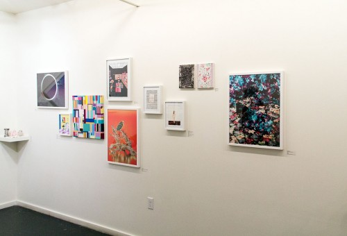 Inside Nationale: A wall featuring work by Delaney Allen/Nim Wunnan
