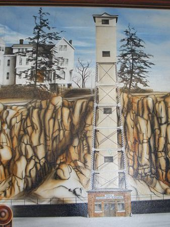 A depiction of the original Oregon City elevator.