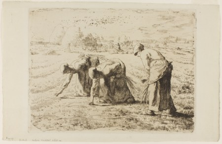 "Jean-François Millet, ""Les Glaneuses (The Gleaners),"" etching, 1855. The Vivian and Gordon Gilkey Graphic Arts Collection, Portland Art Museum."