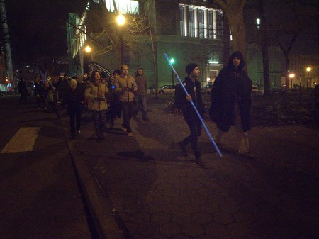 Pied Piper Mitchell Falconer and Grim Reaper Joshua Peters blaze the trail at Portland's Unsilent Night 2013.