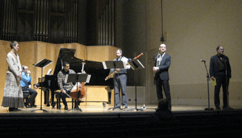 Dr. Robert Kyr introduces visiting artist Jeffrey Zeigler (cello) along with Molly Barth (flute), David Riley (piano)  Steve Vacchi (bassoon) and Brian McWhorter (trumpet prepare to perform an evening of OCF compositions. February 19th, 2014 Beall Concert Hall, Eugene.