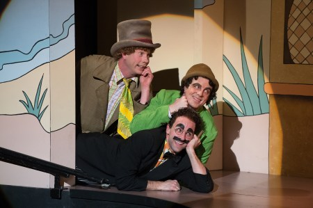 "Harpo (Brent Hinkley), Chico (John Tufts) and Groucho (Mark Bedard) in ""The Cocoanuts."" Photo: Jenny Graham."