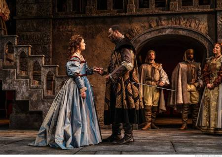 From left: Nikki Coble as Desdemona, Morrison, Jim Vadala and Ricardy Charles Fabre as soldiers, Dana Green as Emilia. Photo: Patrick Weishampel