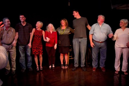 """A lineup of storytellers from an """"Urban Tellers"""" performance at Hipbone."""