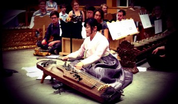 Seola Kim performs her composition for ajaeng and gamelan orchestra. Photo by: Oregon Composers Symposium